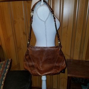 FRYE COGNAC LEATHER CHAINED LINK STRAP HOBO